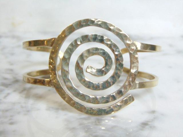Womens Vintage Sterling Silver Spiral Modernist Bracele