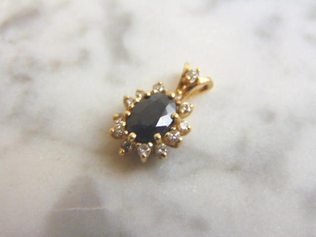 Vintage Estate 10K Gold Blue Sapphire & Diamond Pendant