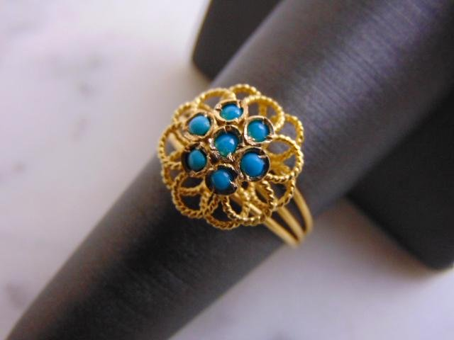 Womens Vintage Estate 18K Gold Turquoise Filigree Ring