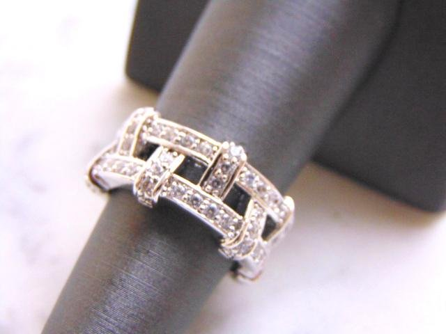 Womens Sterling Silver Ring w/ Diamond Cut CZ Stones