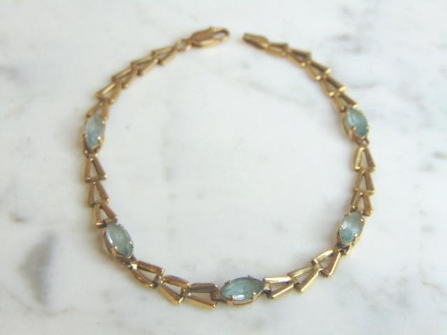 Vintage 14K Gold & Topaz Color Gemstone Link Bracelet