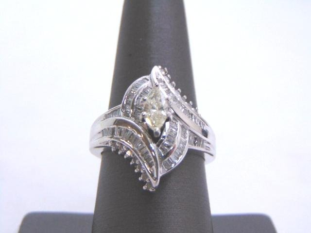 Womens Vintage Sterling Silver Diamond Engagement Ring