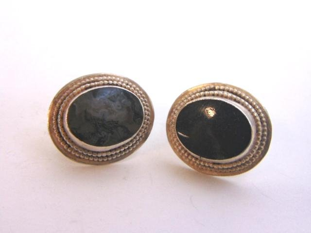 Vintage Sterling Silver Earrings With Large Stone