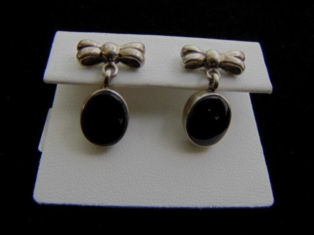 Sterling Silver Marcasite Ribbon Stick Earrings