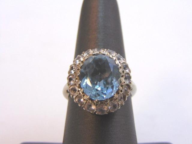 Womens Vintage Estate 14K White Gold Topaz Ring