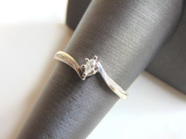 Womens Vintage 10k White Gold Marquise Diamond Ring