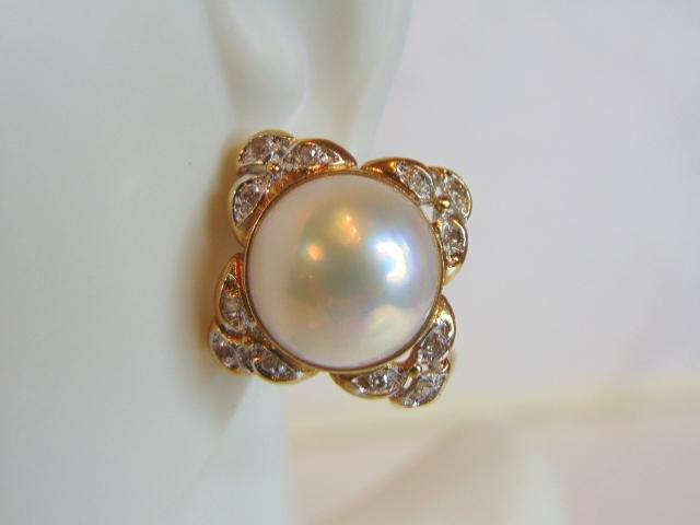 Womens Vintage Estate 14K Gold Diamond Pearl Earrings