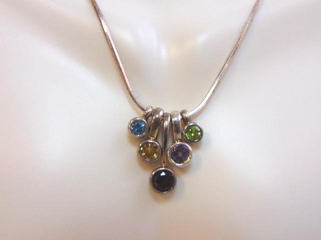 Womens Sterling Silver Necklace & Multi Stone Pendant