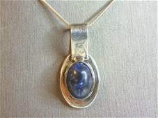 Vintage Sterling Silver Necklace Blue Lapis Pendant