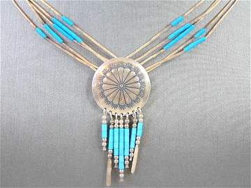 Womens Vintage Sterling Silver Southwestern Necklace
