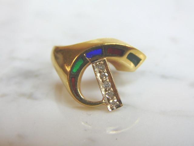 14K Yellow Gold Ring w/ Diamonds Emerald Sapphire Ruby