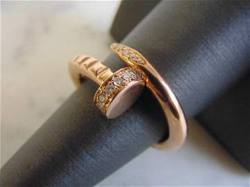 Womens Vintage Estate 14K Rose Gold Diamond Nail Ring