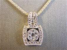 Womens Sterling Silver CZ Stones Pendant W/ Necklace