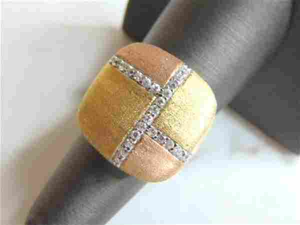 Womens Vintage Estate Sterling Silver Ring w/ CZ Stones