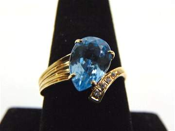 Vintage Estate 14K Yellow Gold Ring w/ Topaz & Diamond