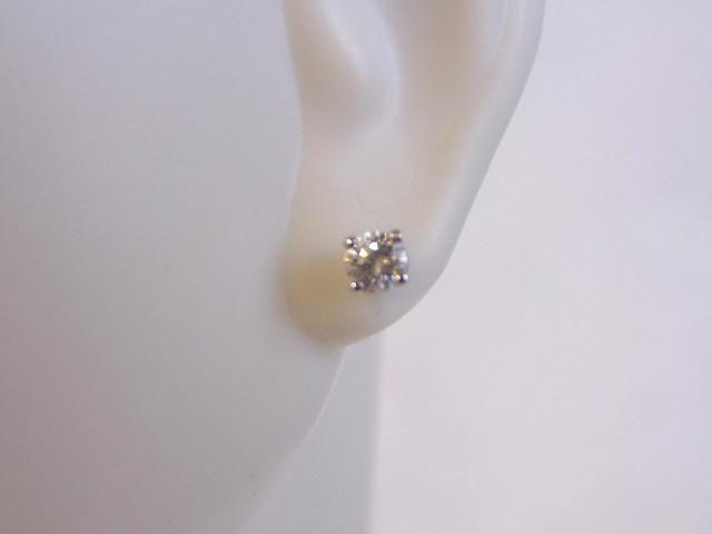 Pr of 14K White Gold Diamond Stud Earrings