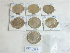 LOT OF 7 MORGAN & PEACE SILVER DOLLARS COIN ESTATE FIND