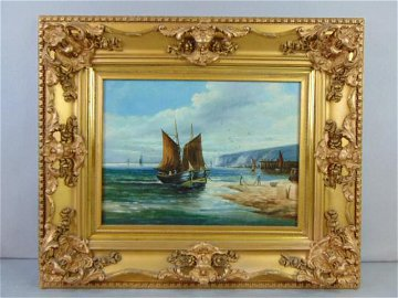 ANTIQUE OIL ON CANVAS SEASCAPE PAINTING SIGNED