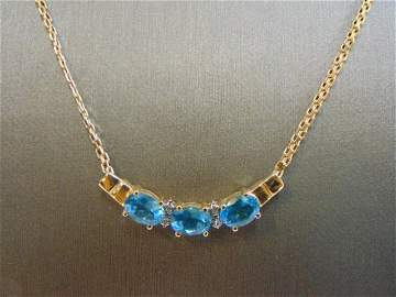 Womens 14k Gold Necklace Topaz & Diamond Pendant