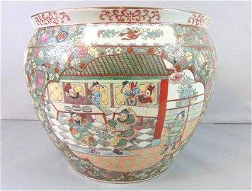 Decorative Chinese Porcelain Rose Medallion Planter