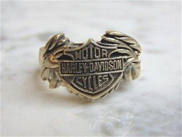 Mens Sterling Silver Harley Davidson Motorcycle Ring