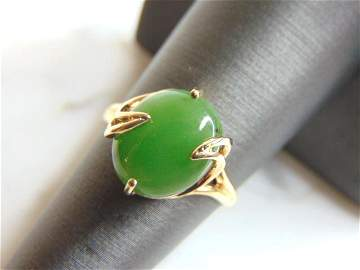Womens Vintage Estate 10K Yellow Gold Jade Ring