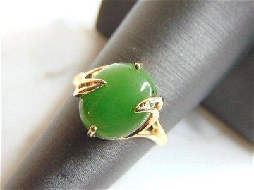 Womens Vintage Estate 10K Yellow Gold Jade Ring