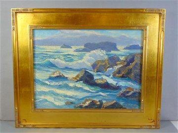 Vintage Antique Seascape Pacific Northwest Painting Sig