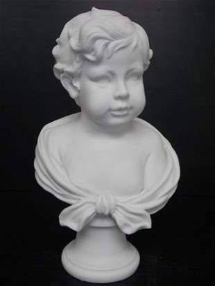 VICTORIAN BUST STATUE OF LITTLE BOY W/ MARBLE FINISH