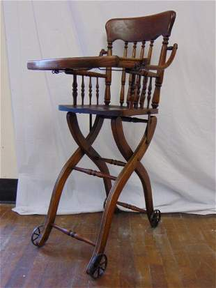 ANTIQUE OAK HEYWOOD WAKEFIELD BABY HIGH CHAIR