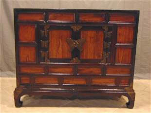 ANTIQUE CHINESE ASIAN DANSU CHEST W/ BRASS BUTTERFLY