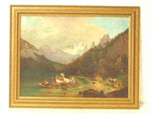 ANTIQUE OIL ON CANVAS RIVER MOUNTAIN SCENE PAINTING