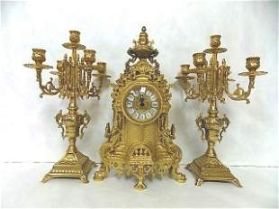 3 PIECE ITALIAN SOLID BRASS CLOCK & CANDELABRA SET