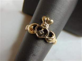 Womens Vintage 10k Gold Irish Claddagh Diamond Ring