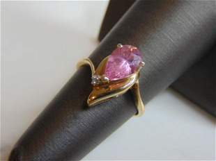 Womens 14k Gold Rose Quartz Diamond Ring