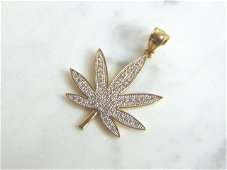 Blinged Out 14K Yellow Gold Marijuana Pot Leaf Pendant