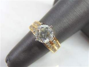 Womens Vintage Estate 14K Gold W/ CZ Engagement Ring
