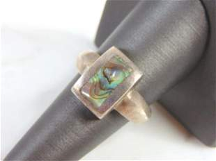 Vintage Sterling Silver & Abalone Shell Ring
