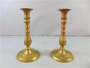 Decorative Antique Pair of Brass Candlesticks Holders