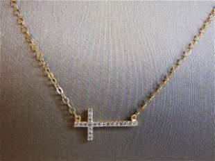 Vintage 14K Gold Necklace w/ Religious Cross Pendant
