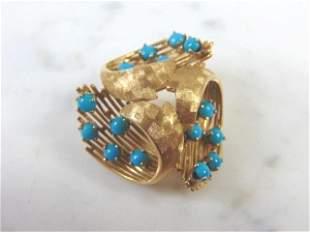 Womens Vintage Estate 14k Gold Turquoise Pendant