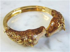 Womens Vintage Estate 18K Gold & Enamel Horses Bracelet