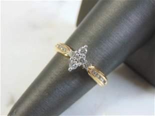 Vintage Estate Womens 14K Yellow Gold Diamond Ring