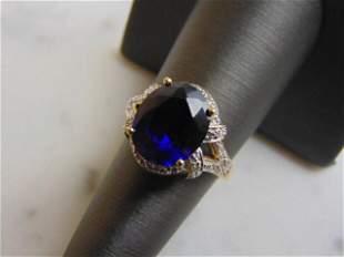 Women's Vintage Estate 10K Gold Sapphire & Diamond Ring