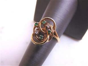 Women's Estate 14K Yellow Gold Diamond Emerald Ring