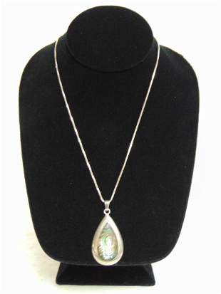 Vintage Sterling Silver Abalone Pendant w/ Necklace