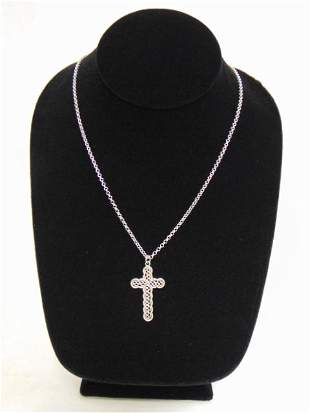 Sterling Silver Religious Cross Pendant & Necklace