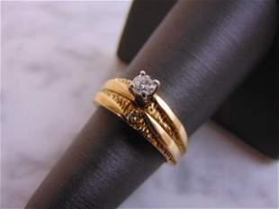 Womens Vintage Estate 14k Gold Diamond Ring Wedding Set