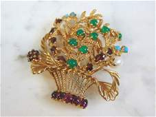 Vintage Estate 14K Gold Floral Brooch w/ Gemstones