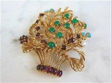 Vintage Estate 14K Gold Floral Brooch w/ Gemstones